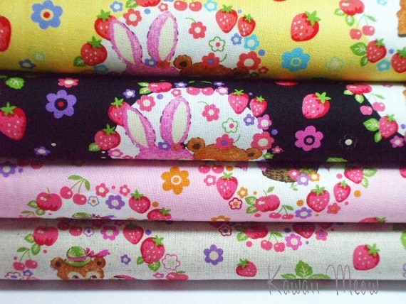 SALE - KOKKA Cotton Linen Animals Sweet Basket  - Fat Quarter Set of 4 (ma1016)