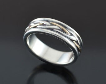 Celtic Band Ring w/ 14K Gold Strand