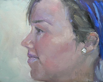 """Small Portrait, Female Profile, """"Courtney In Paris"""" 6x8"""" Oil Painting, Daily Painting"""