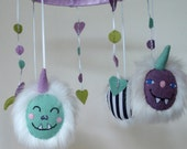 Monster mobile, purple turquoise green