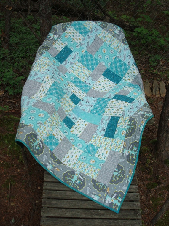 Teal And Gray Baby Quilt