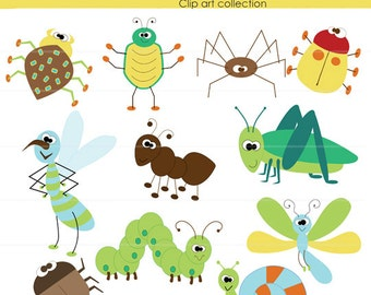 Clipart , Bugs, 2,  For Boys , clip art,  INSTANT DOWNLOAD,  for use for Cards, Stationary, digital, scrapbooking and Paper Products,  Bug