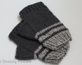 Fingerless Gloves Striped Grey