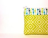 Small Cotton Zipper Pouch Small Wallet Small Change Purse  - Lime and Blue Geometric Pattern
