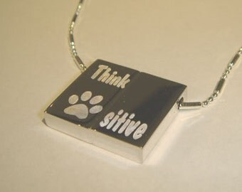 Wish Locket-Paw-positive Think positive Engraved Necklace-Pendant dog cat lovers-custom too-Personalization Option