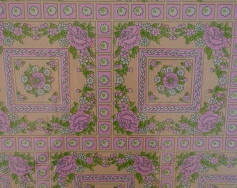 Vintage Gift Wrap 1970s All Occasion Wrapping Paper 2 Sheets NIP--Pink Posies & Roses