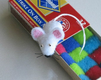 White mouse miniature felt plush in matchbox with tiny fleece quilt play set