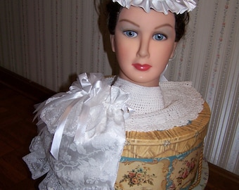 Ladies White brocade Civil War Hat and Reticule with White Braid and Satin Ribbons,costume