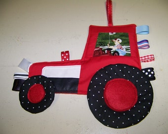 Tractor Crinkle baby Toy with ribbons Patchwork look like CASE or IH
