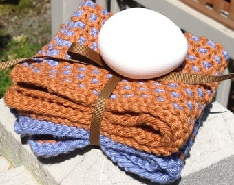 The BEST hand knit two color wash dish cloth pin dot duo antique gold stone wash denim