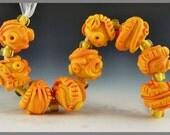 set of 9 etched apricot orange round handmade lampwork glass beads textured organics - Sunny Days