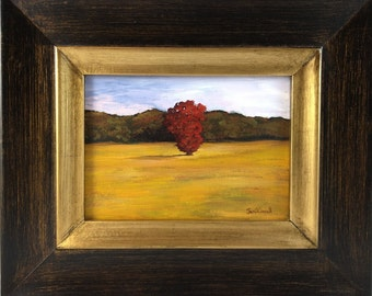 Red Tree in Field - Original Acrylic Painting - Framed