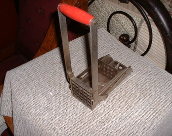 Vintage french fry potato cutter Red Wood Handle