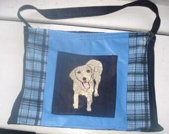 Hand Embroidered Fabric Laptop Bag Labrador Retriever