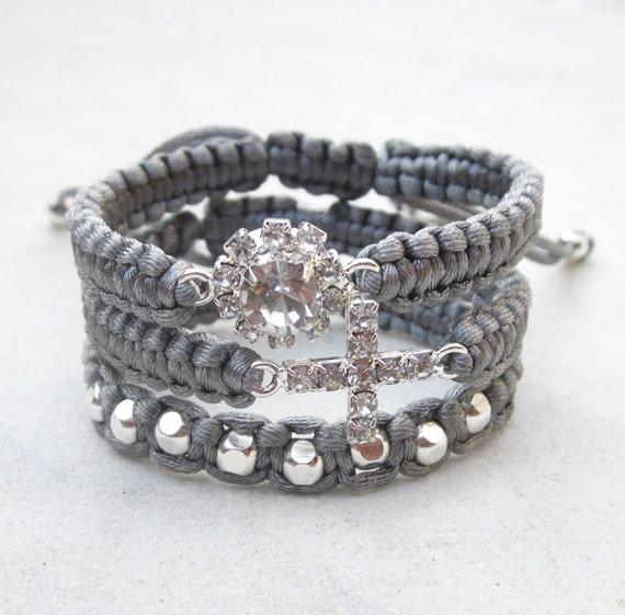 Grey rhinestone friendship bracelet, grey macrame strap with silver beads, rhinestone  flower or crystal cross connector, CHOOSE your design