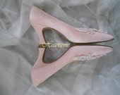 Shoes pink pumps Womens vintage heels pearl embellished 80s Edwardian style