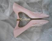 Shoes pink pumps Womens vintage heels pearl embellished 80s Edwardian style