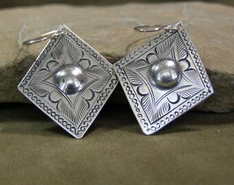 Silver Bohemian Earrings, Native American Inspired Earrings with Etching,  Geometric Shape Boho Jewlery