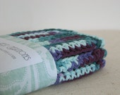 Cotton Dishcloths, Crocheted in Plum, Purple, Teal and Blue.