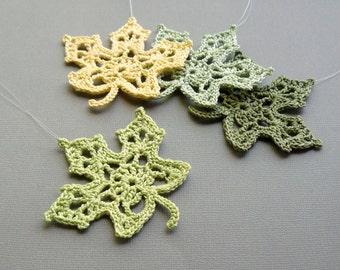 4 Crochet Maple Leaf Ornaments -- Spring Green Leaves -- Assortment M4