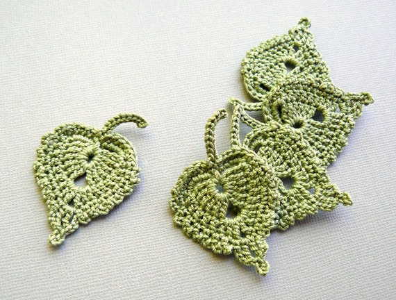 Crochet Leaf Appliques -- Olive Green Birch Leaves