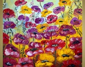 RED BURGUNDY Yellow Flowers Original Oil Painting Modern Floral Art on Gallery Canvas by Luiza Vizoli