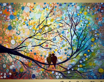 ORIGINAL Wall Art Landscape Birds HAPPY MOMENTS Whimsical Painting  on Large Canvas by Luiza Vizoli
