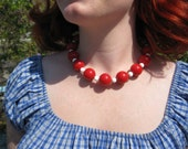 Cherry Red & White Beads Choker Necklace