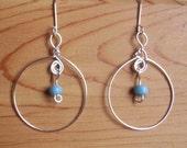 Wire Hoop and Bead Earrings