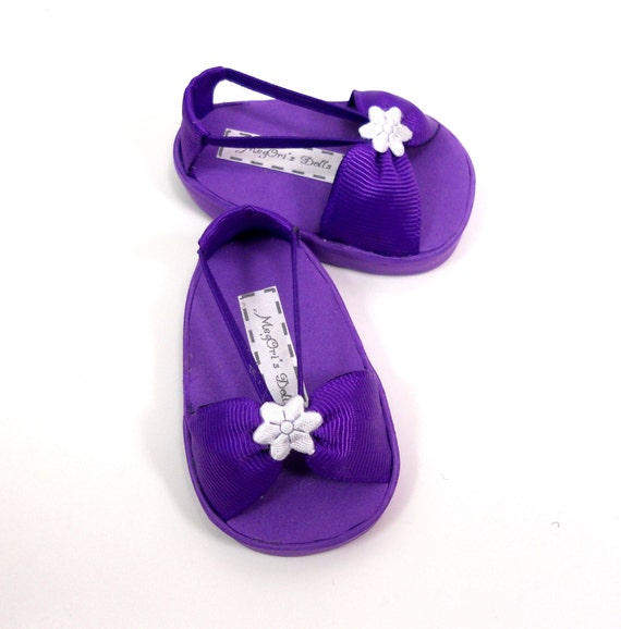 "18"" doll American Girl doll sandals shoes deep purple"