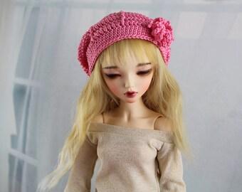 "minifee bjd beret pink crochet hat for dolls with a 7"" head"