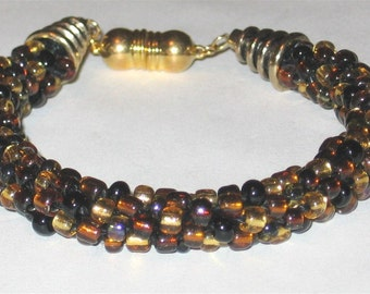 Beautiful Browns and Gold Kumihimo Beaded Bracelet - 1089