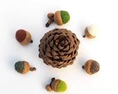Woodland Home Decor, Rustic Needle Felted Acorn Ornaments, Fall Autumn Colors - 12