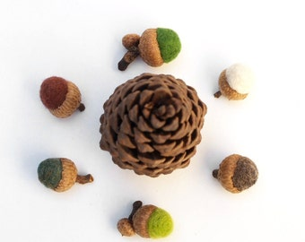 Woodland Home Decor, Rustic Needle Felted Acorn Ornaments, Fall Autumn Colors - 12