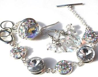 SUPER SALE Crystal Aurora Borealis Bracelet, Ring and firepolished glass earrings handmade set