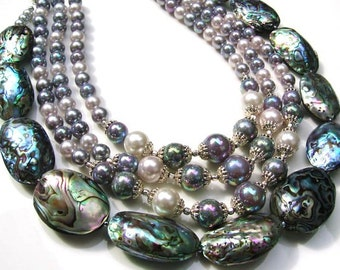 Carnival Vintage Beads and Abalone Shell Handmade necklace