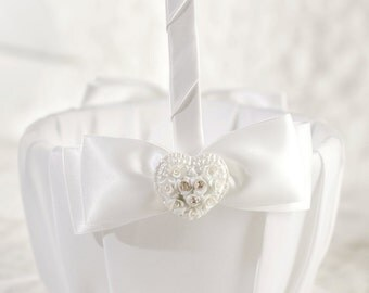 Rhinestone Pearlized Heart Rose Bouquet Wedding Flowergirl Basket - 80405
