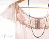 Lace and Pearls, Sheer Romantic Pink Dress, Home Decor, Fine Art, Lifestyle Photo, 5x7 Print - HelenMPhotography