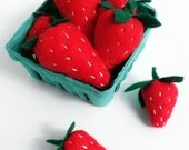 Play Felt Food Strawberries in a Berry Basket