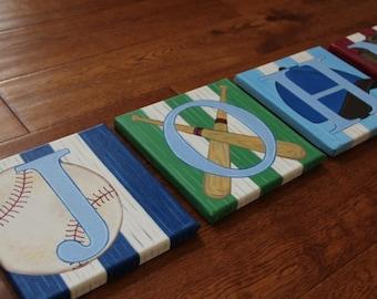 "8"" x 8"" or 8"" x 10"" Baseball Theme Custom Personalized Name Wall Sports Bats Glove Cap Canvas Art Boys Bedding Room Decor (price per letter)"