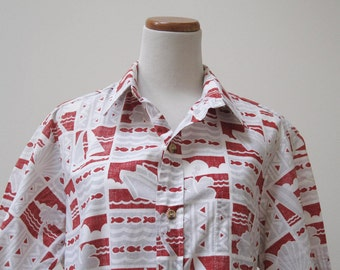 Vintage Chapman's reverse print Hawaiian shirt in red, gray and white