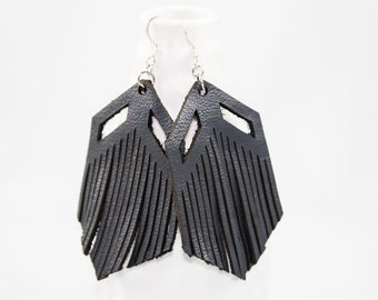 Leather Earrings - Chevron Fringe - Laser Cut (Black)