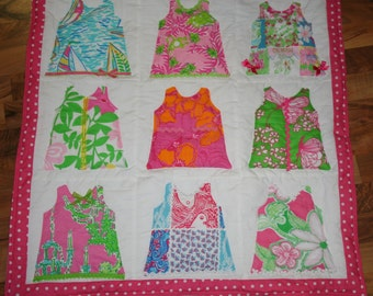 Lovee size Shift Dress quilt made with Lilly Pulitzer fabric