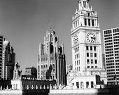 Chicago, Wrigley Building and Tribune Tower from the Trump Tower: Black and White Photo