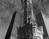 Chicago Water Tower and Hancock Building: Black and White Photo