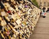 Paris photography - Love Locks on the Pont des Arts - 8x10 art print - romantic travel photography, gift for francophiles, paris france