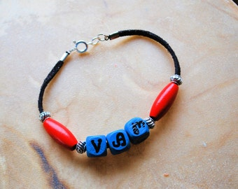 Cherokee Language Jewelry, Peace Bracelet, Handpainted Wood Bracelet, Native Style, Unisex Jewelry, Boho Jewelry, Tribal Jewelry