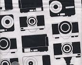 1 Yard : Boy Toys Cameras APP-13358-2  Black Novelty Robert Kaufman Designer Quilt Cotton Fabric