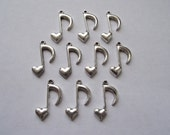Heart Music Note charms- ten charms- antique silver charms