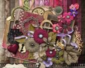 TIMELESS LOVE - Digital Scrapbooking Kit - 18 Beautiful Papers - 60 Plus Elements -4.75